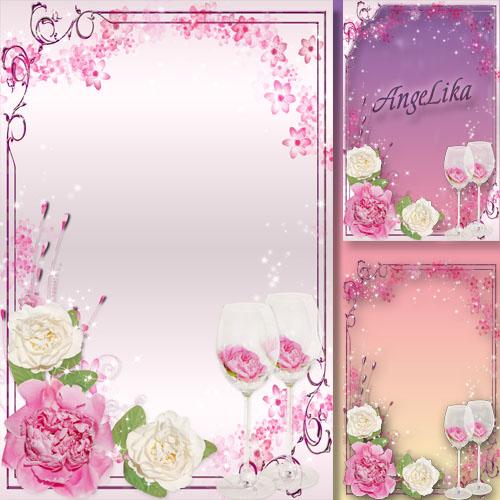 Праздничная цветочная рамка для фото - Вновь расцвели, чаруя взгляд, благоуханные пионы