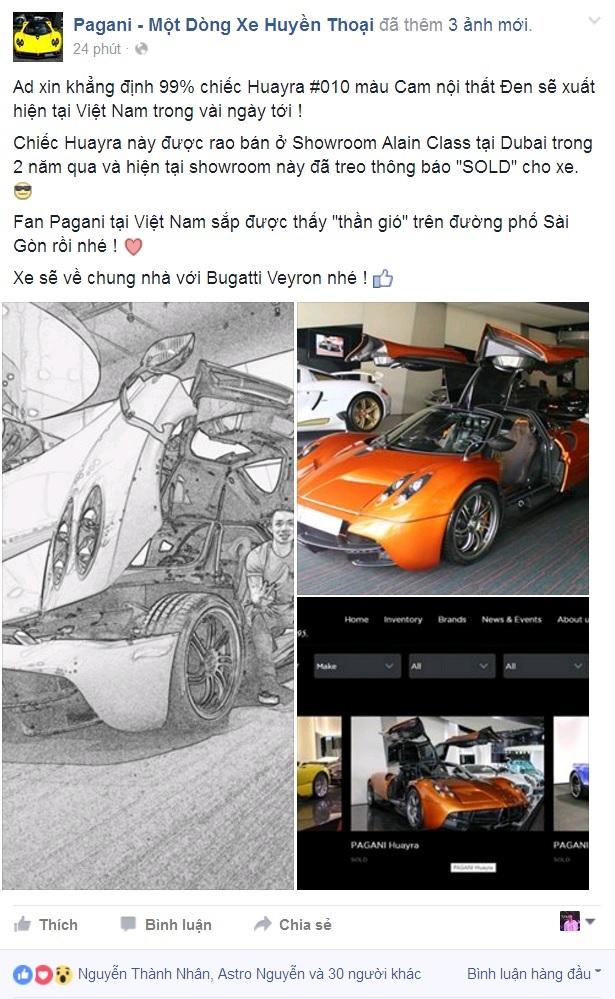 Thông tin được đăng tải trên Fanpage cộng đồng về Pagani, Terocket xin lỗi admin Fanpage khi nghi ngờ một số thông tin