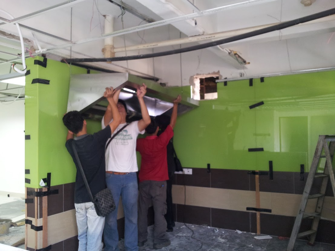 install cooking hook and exhaust ducting