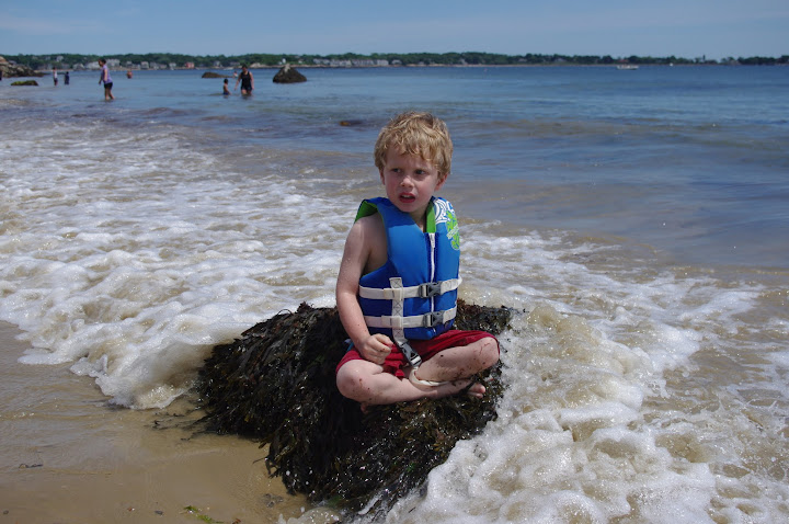 Thankfully, he learned a reasonable caution around water this summer. Kind of.