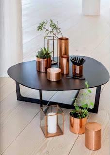 vasos, recipientes y porta-velas en cobre