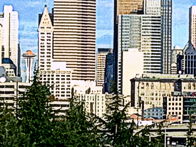 Needle and Towers, digital painting by René Fabre of downtown Seattle with Space Needle and the Smith Tower