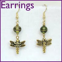 "Dragonfly Olive green lamp work beads with dragonflie  1 1/2"" $15"