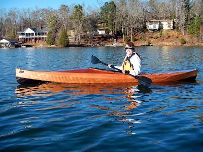 Bev in the boat