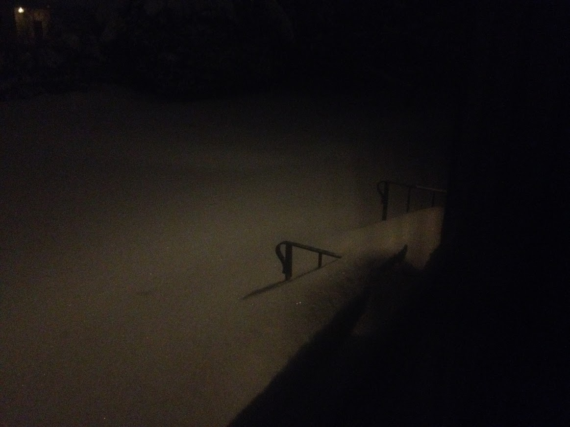 Blizzard snow covering stairs