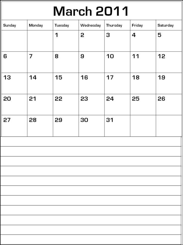 march calendar 2011. CALENDAR 2011 TEMPLATE MARCH