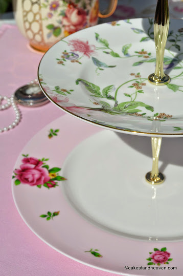 pastel vintage bone china cake stand patterns