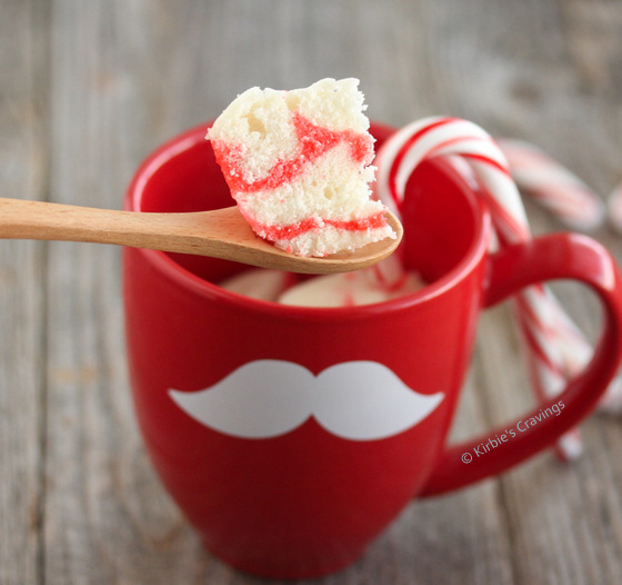close-up photo of a spoonful of Candy Cane Mug Cake