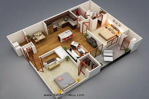 Phương án thiết kế mặt bằng có 2 phòng ngủ đẹp - Tủ âm tường-1