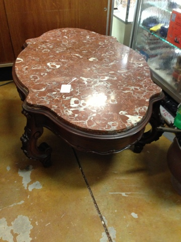 gannon's antiques: antique furniture, superior marble top coffee table