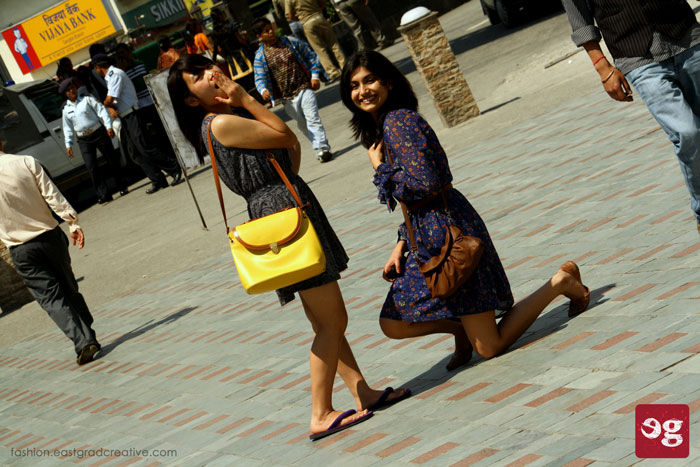 Models trying out their pose in Gangtok M.G Marg