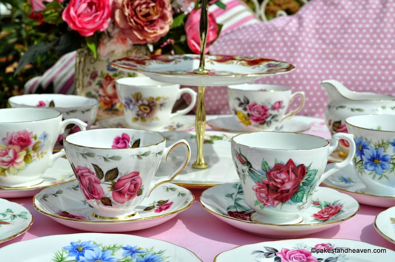 Summer Garden eclectic vintage tea set and cake stand