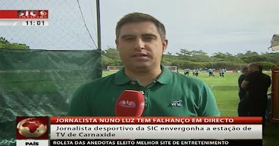 Nuno Luz, jornalista da SIC, tem falhanço em directo ao ser apanhado a dizer asneira