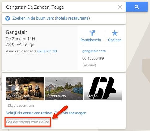 Google Maps bewerking voorstellen