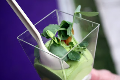 Pea and mint mousse with goat's curd and pancetta from Petrus restaurant at Taste of London
