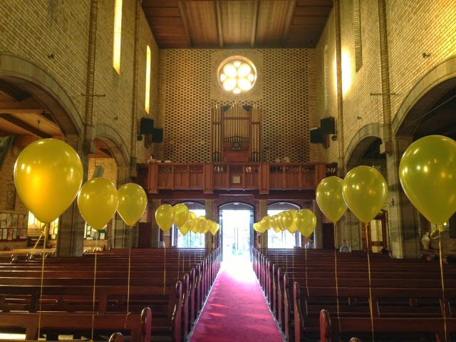 Yellow Balloons at St Mary's Church for Easter