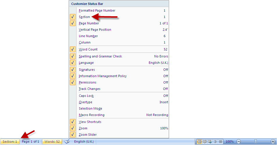 Activating Sections from Status Bar in MS Word