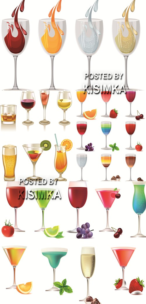 Stock: Set of different party drinks