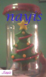 frasco de vidrio masa flexible arbol de navidad decorado navideño