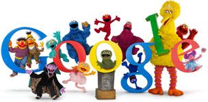 """Doodle de Google conmemorativo del 40 aniversario de """"Sesame Street"""" (Barrio Sésamo en España) con los personajes más famosos"""