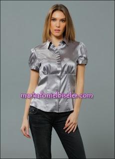 markafoni Marks and Spencer gümüş rengi grisi lame saten gömlek modelleri