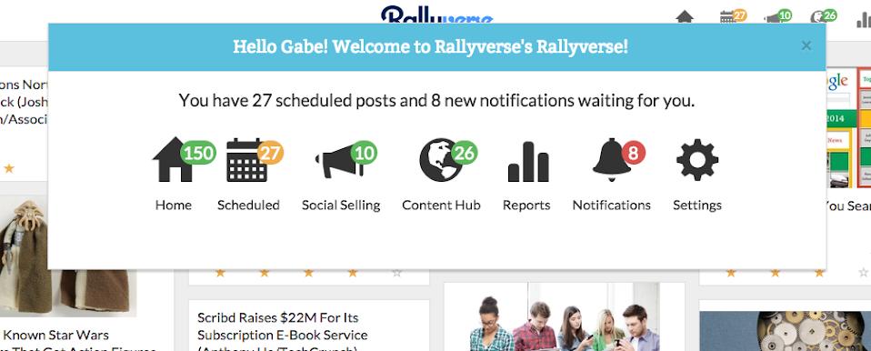 Rallyverse Welcome Screen