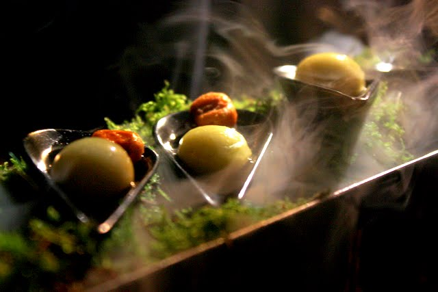 Molecular gastronomy olives at a dinner at Somerset House in London England
