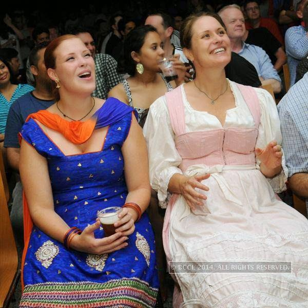 Eva and Silke Van Schwartzenberg during the 2014 FIFA World Cup final screening, held at Germany embassy, in New Delhi, on July 13, 2014.
