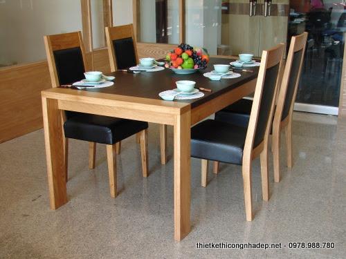 Bàn ăn gỗ sồi 4 ghế bọc da mặt ngồi kiểu dáng hiện đại