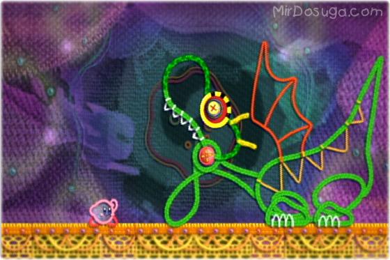 Kirby из Kirby s epic yarn сражается драконом