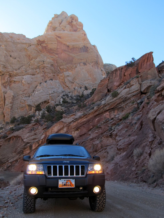 Jeep on the Burr Trail switchbacks