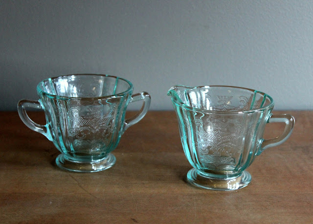 Blue depression glass creamer & sugar set available for rent from www.momentarilyyours.com, $2.