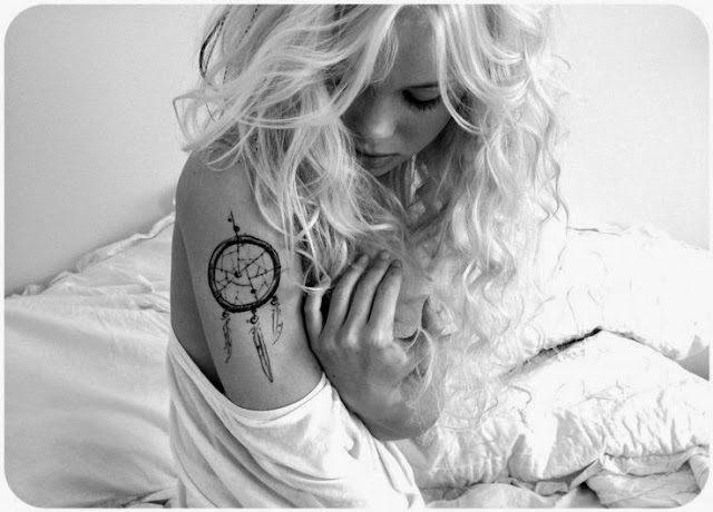 Dreamcatcher Tattoos for females on shoulder