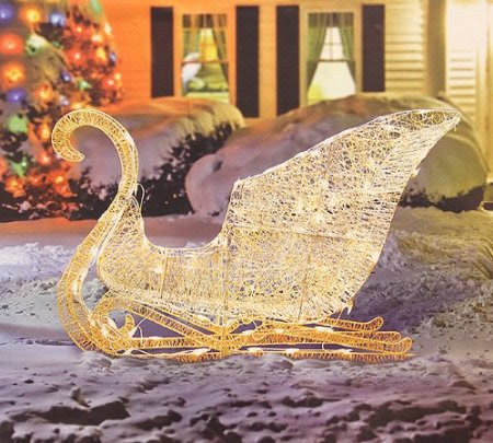 41-Inch Elegant White Glittering Lighted Christmas Sleigh Yard Art Decoration