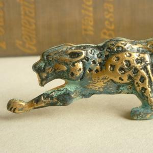 Aqua blue leopard brooch