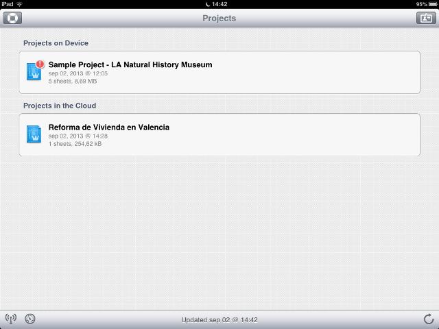 Apps de Construcción - PlanGrid Pantalla de inicio en iPad