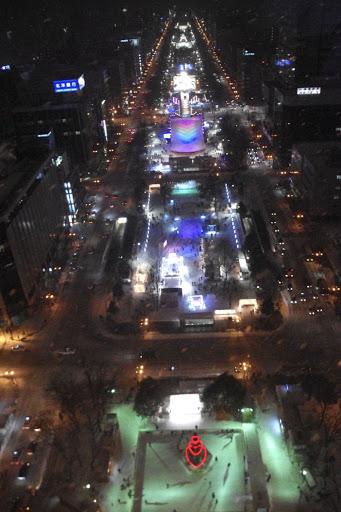 札幌テレビ塔から西方を眺める「さっぽろ雪まつり」@大通公園