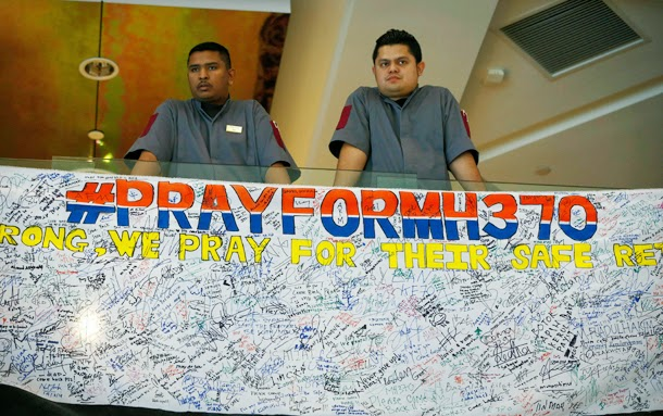Messages for missing passengers of Malaysian jet