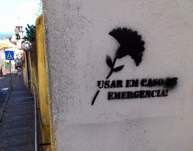 """""""use in emergencies"""" and a flower that symbolizes freedom"""