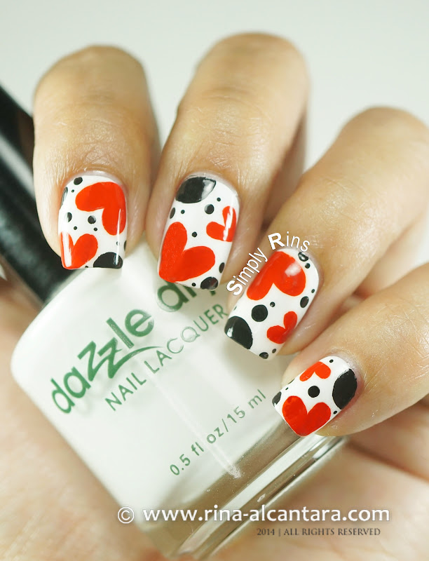 Polka Hearts Nail Art on Dazzle Dry White Lightning