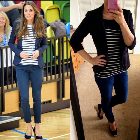 Kate Middleton blazer and stripe look for less