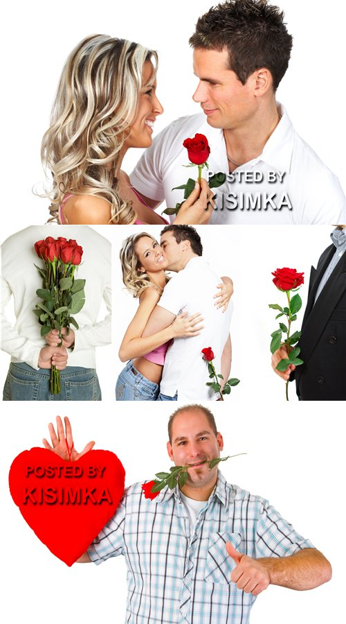 Stock Photo: Man with red rose