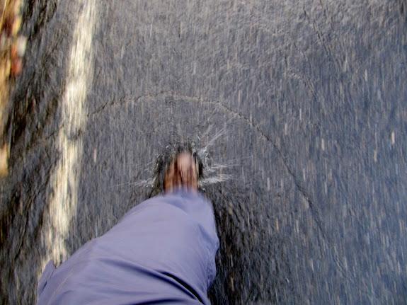 Walking through the runoff
