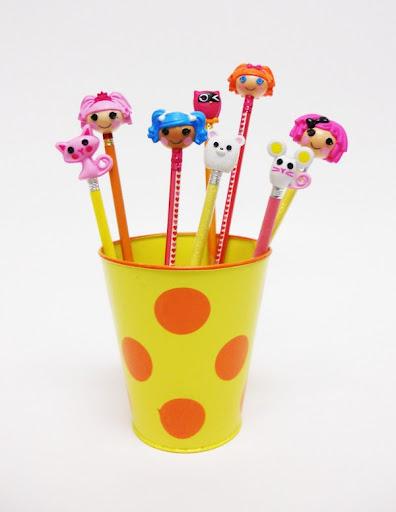 cabezas de las mini Lalaloopsys y sus repectivas mascotas para lápices, bolígrafos...