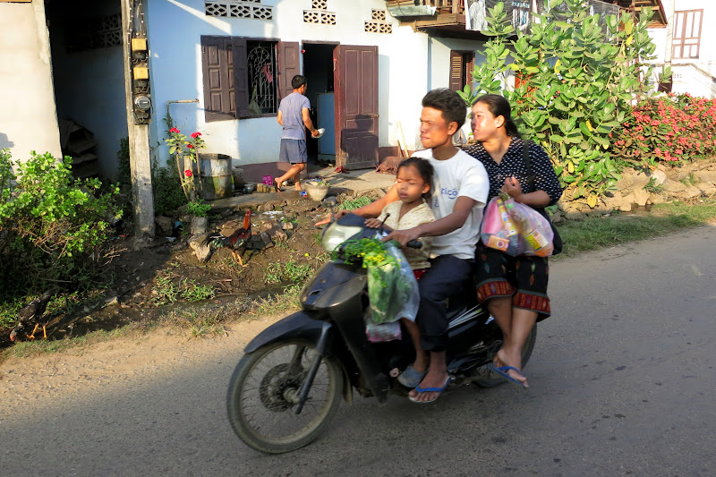 Family with groceries