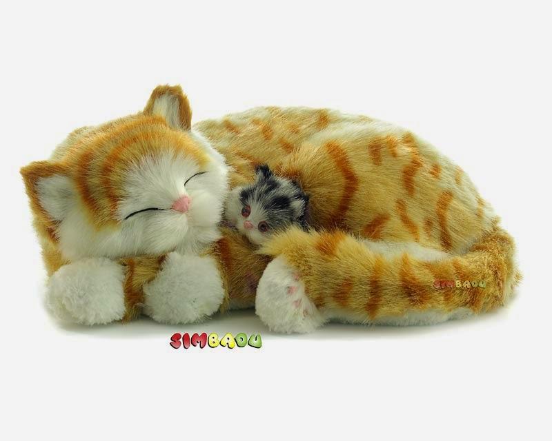 pl schtier katze mit baby liegend 25cm lebensecht mit. Black Bedroom Furniture Sets. Home Design Ideas