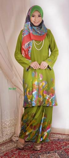 Baju Raya 2014 Baju Kurung Pahang Cotton 3D Hijau