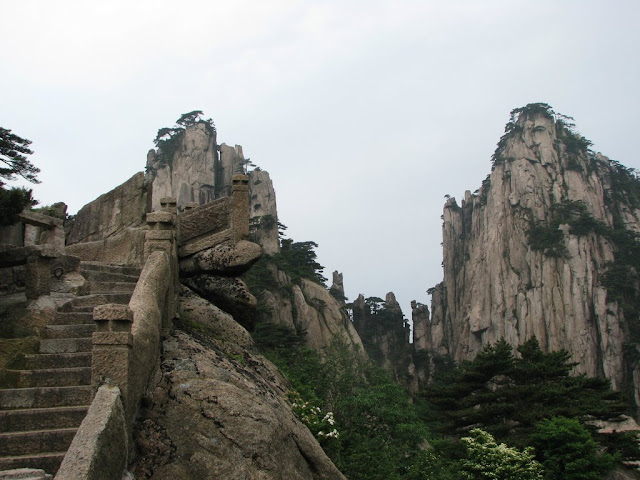 The Winding Stairs Up the Mountainous Huangshan