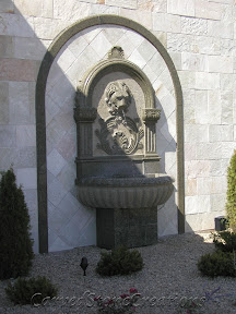 carved stone fountain, estate fountain, Exterior, Fountains, garden fountain, garden fountains, granite fountain, outdoor fountains, stone fountain, stone garden fountain, Wall, wall fountain