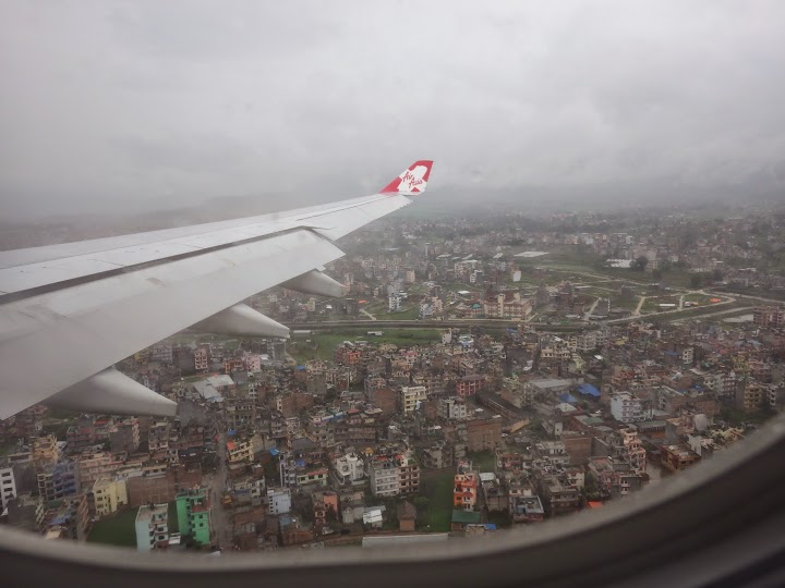 Landing shortly in Tribhuvan International Airport, Kathmandu. It's raining.